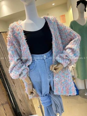 【Z923798】糖果色編織感高磅罩衫