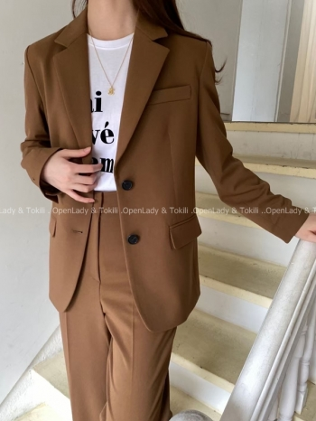 【Z923800】落葉棕雙扣西裝外套