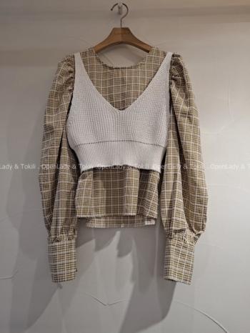 【Z923802】優雅細格紋棉襯上衣+針織背心
